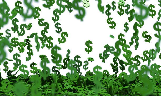 Grünes Dollarzeichen regnet auf weißem Hintergrund – Foto