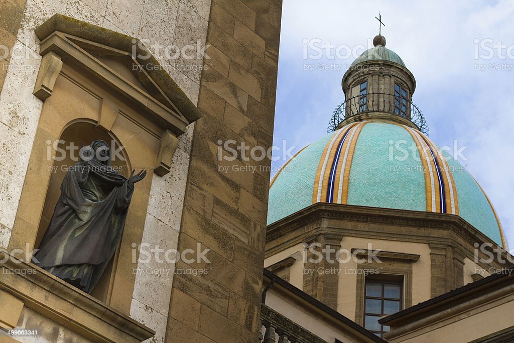 Green Dome and Madonna, Cathedral of Caltagirone, Sicily royalty-free stock photo