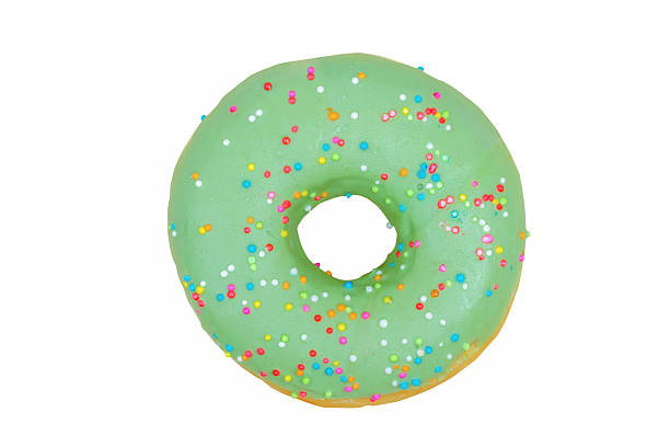 green donut on white background ,with clipping path stock photo