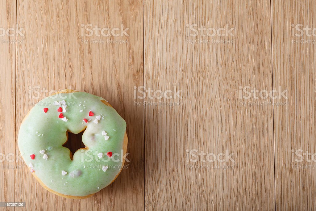 Green donut stock photo