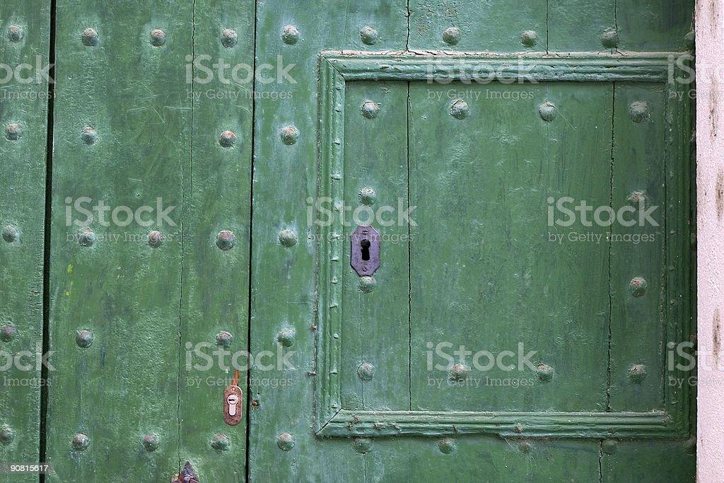 Green door detail stock photo