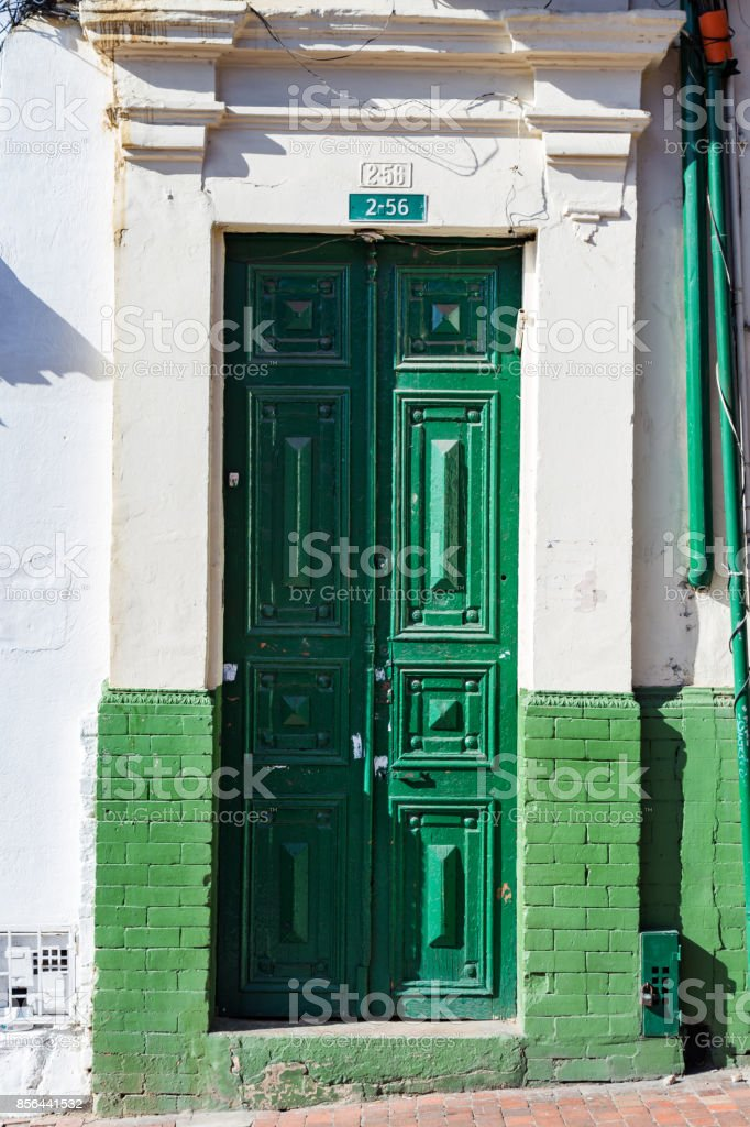 Green Door in Bogota stock photo