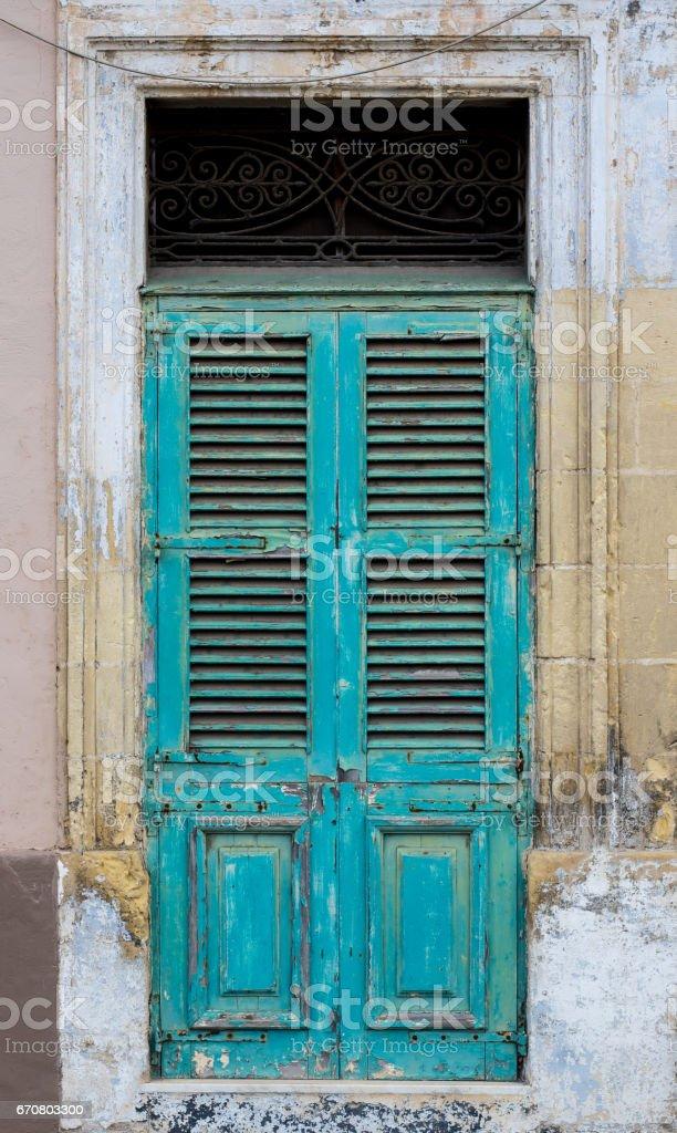 Green door in Il-Birgu, Malta stock photo