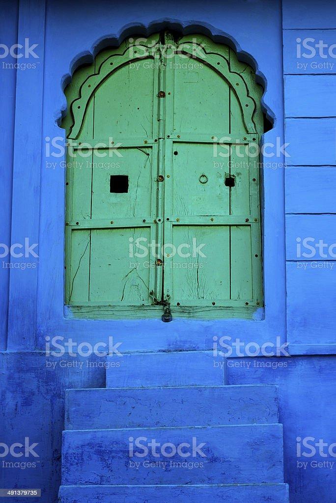 green door in India stock photo