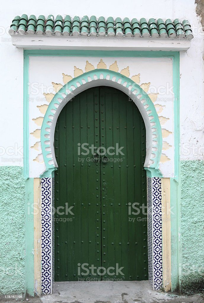 Green door in the medina royalty-free stock photo