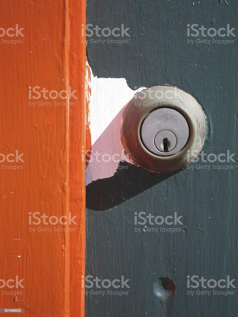green door, orange, Gläser Lizenzfreies stock-foto