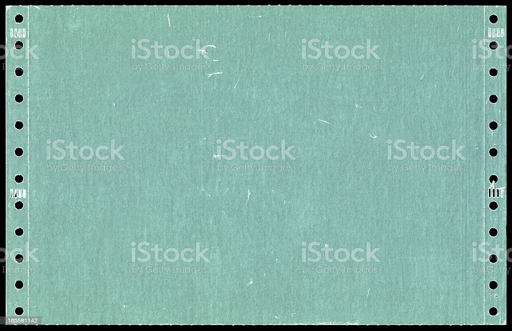Green dot matrix printer paper background textured stock photo