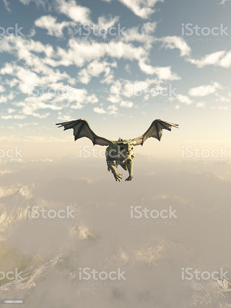 Green Dragon Flying over the Mountains stock photo