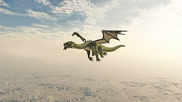Green Dragon Flying through the Clouds stock photo
