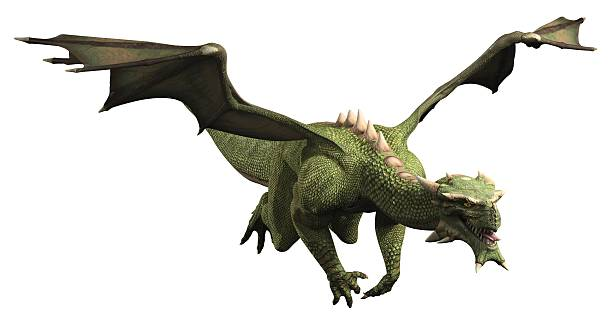 Green Dragon in Flight stock photo