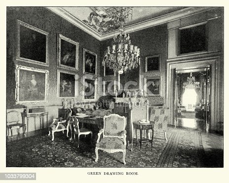 Vintage photograph of Green Drawing Room, Blenheim Palace, late 19th Century