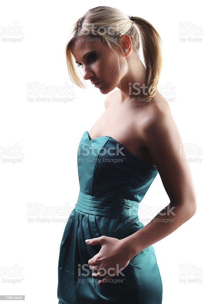 Green dress 1 stock photo