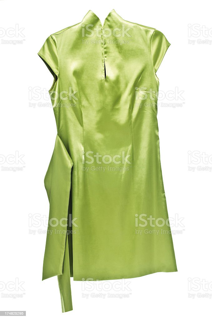 Green dress with belt isolated on white stock photo