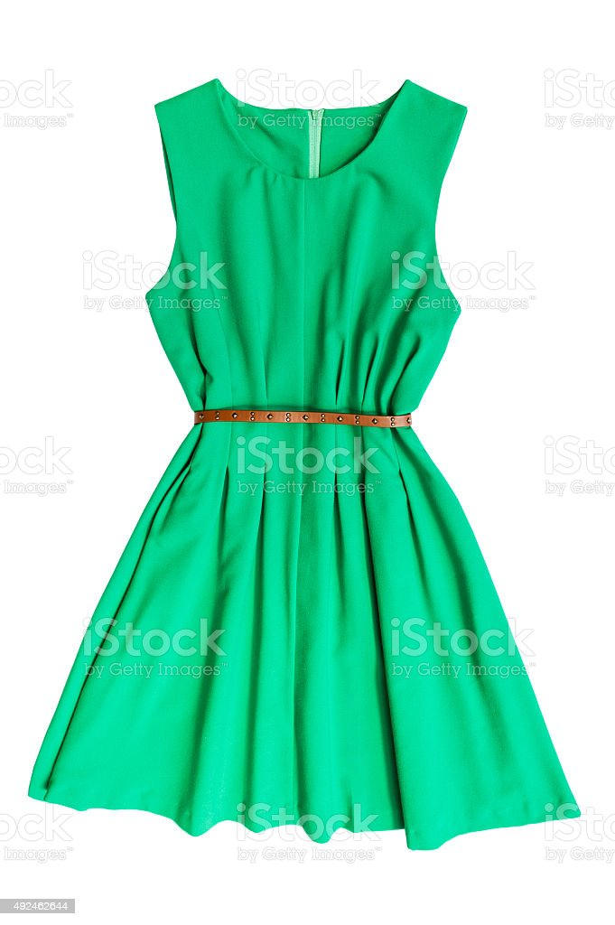 Green dress with belt stock photo