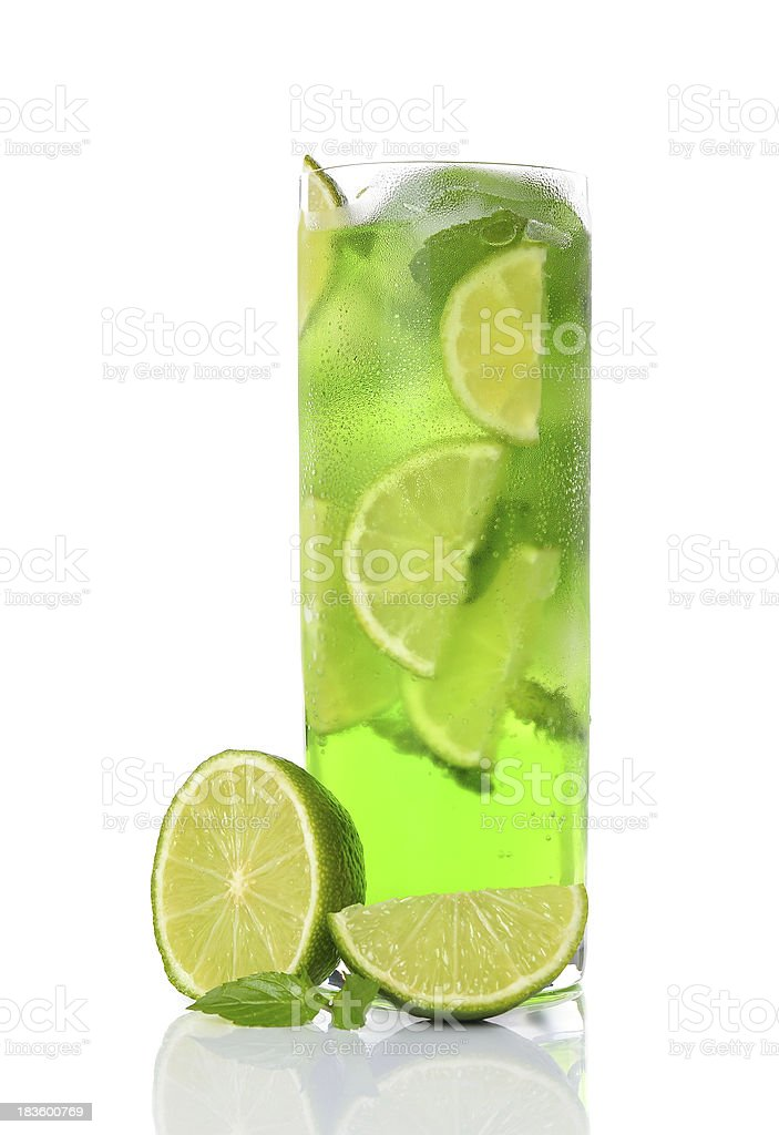Green drink with lime and mint stock photo