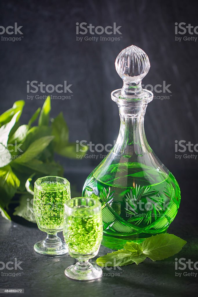 Green drink with soda stock photo