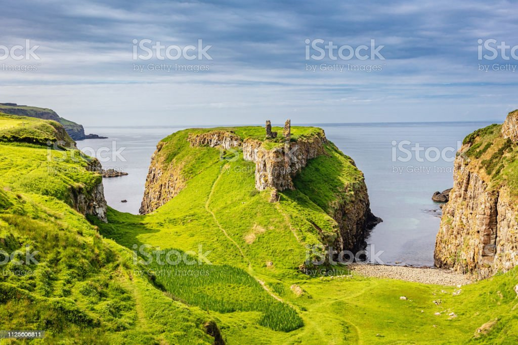 Green Dunseverick Northern Ireland Causeway Road Coastal Landscape stock photo