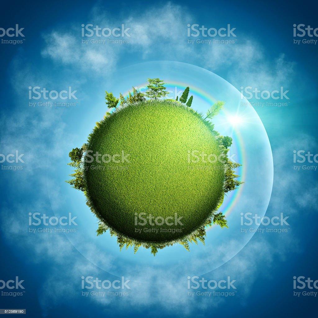 Terre verte. Eco abstraite arrière-plans sur ciel bleu et nuages - Photo