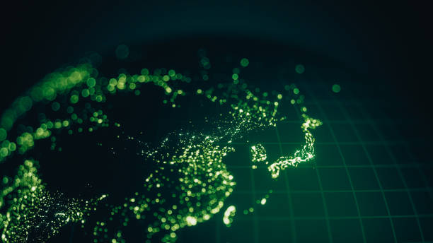 green earth city lights bokeh - east asia (world map credits to nasa) - green world imagens e fotografias de stock