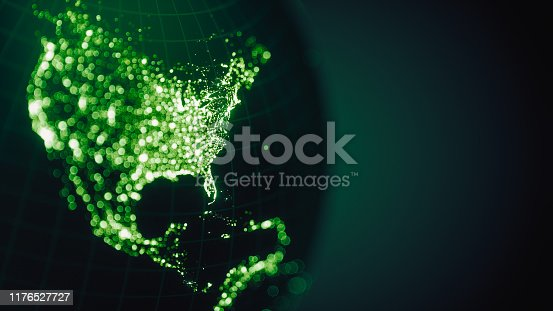 Abstract image of North America's city lights with bokeh. World Map Credits To NASA : https://visibleearth.nasa.gov/view.php?id=55167