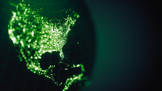 989624498 istock photo Green Earth City Lights Bokeh - North America (World Map Credits To NASA) 1176527727