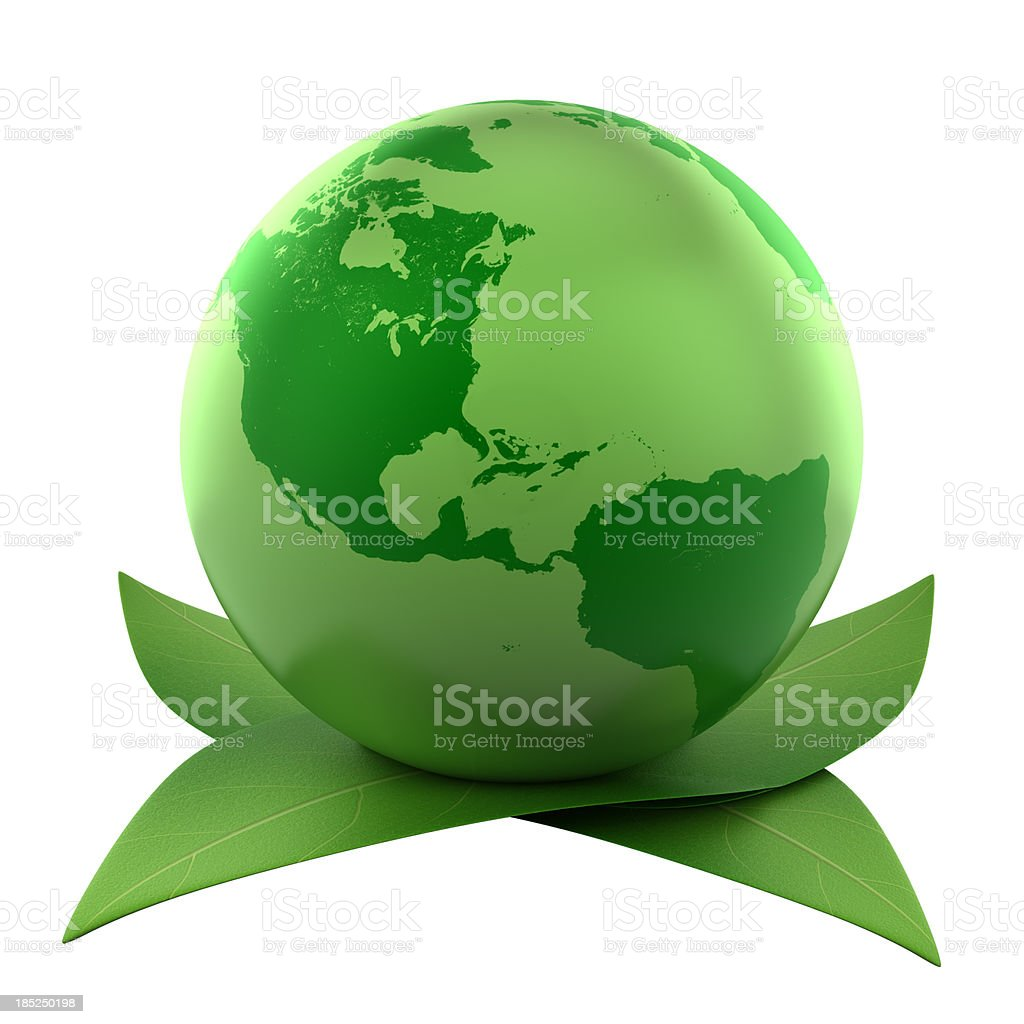 Green earth on leaves, isolated with clipping path royalty-free stock photo