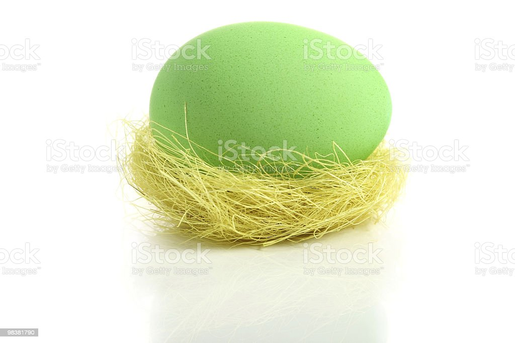 Green easter egg in nest royalty-free stock photo