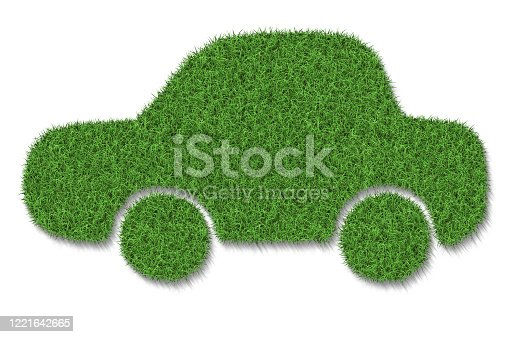 istock Green eco car concept made up of green grass 1221642665