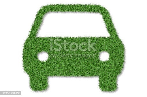 istock Green eco car concept made up of green grass 1222383958