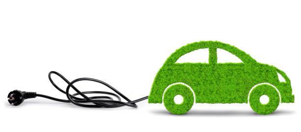green eco car with electric plug on white background. - auto a combustibile alternativo foto e immagini stock