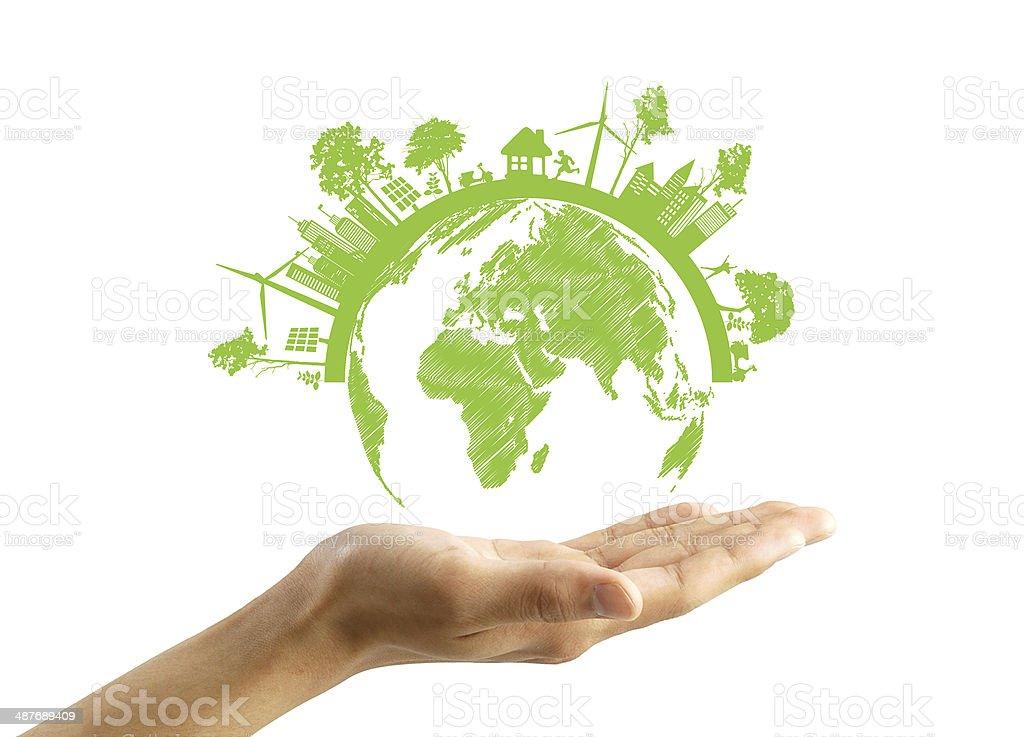 Green Eco Erde, isoliert auf weißem Hintergrund – Foto