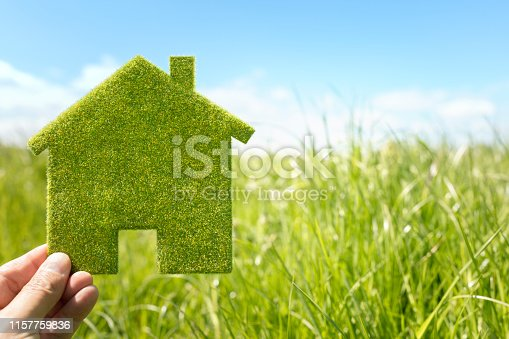 Green eco house environmental background in grass field for future residential building plot