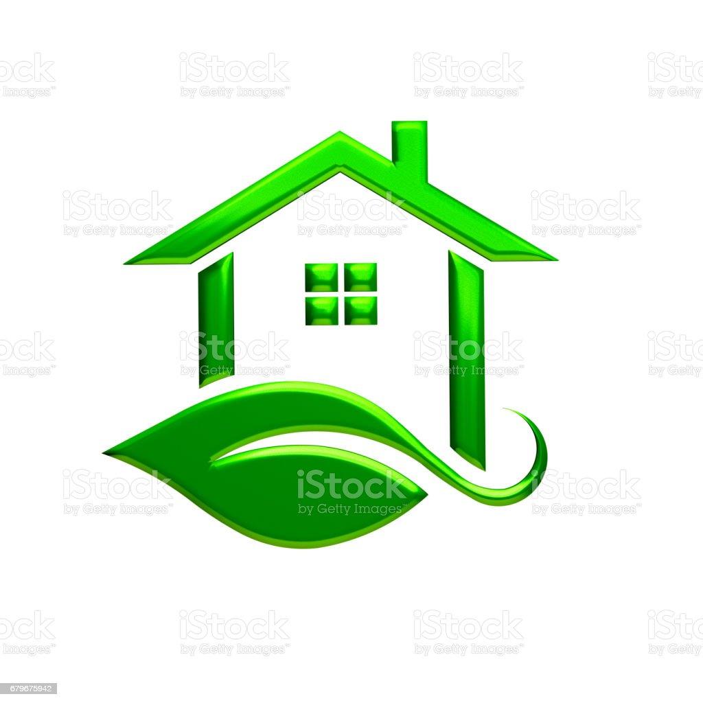 Green Eco House Logo. 3D Rendering Illustration stock photo