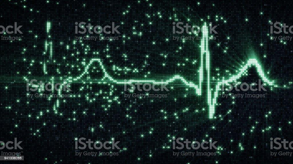 Green EKG electrocardiogram waveform on pixelated screen stock photo
