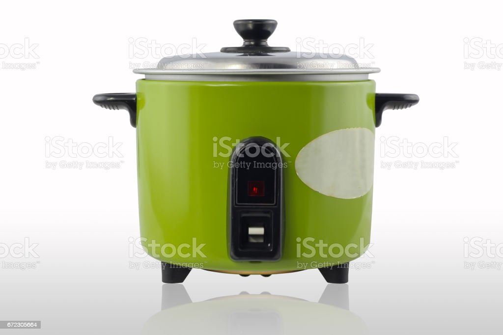 Green electric cooker on white background stock photo
