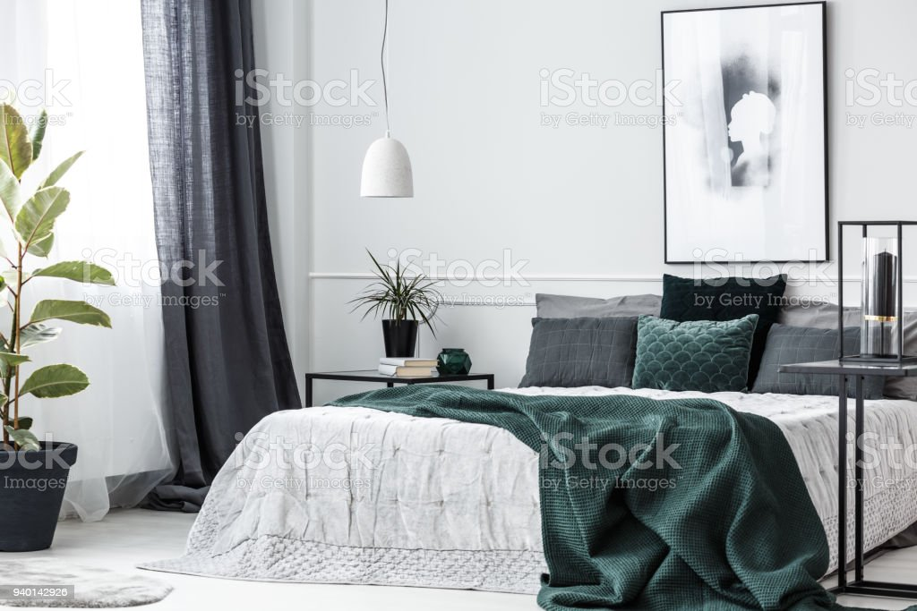Green elegant bedroom interior stock photo