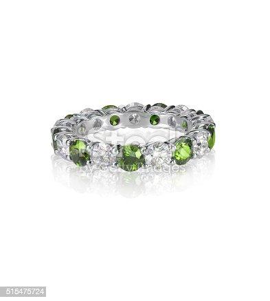 istock green emerald and diamond wedding band ring 515475724