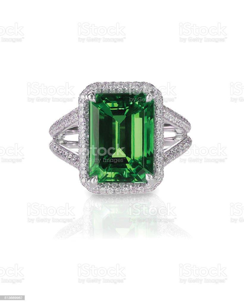 green emerald fashion engagement diamond ring band stock photo