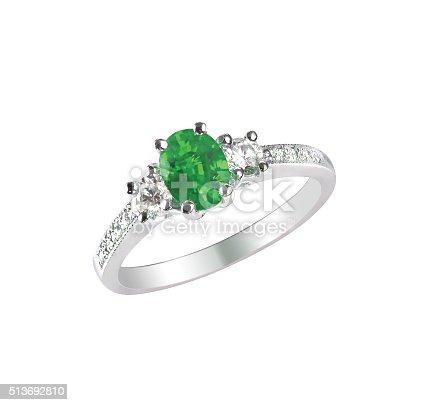 istock green emerald fashion engagement diamond ring band 513692810