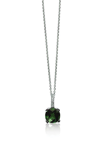Green Emerald Gemstone Pendant Necklace Stock Photo - Download Image Now