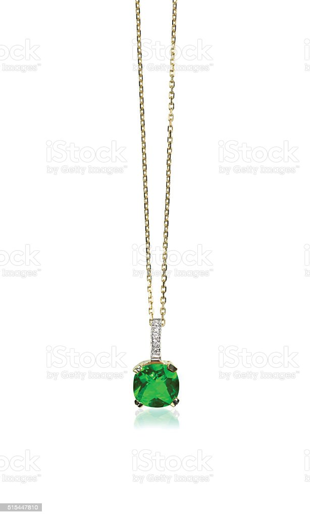Green Emerald Gemstone Pendant Necklace stock photo