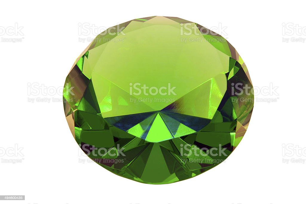 Green emerald stone on a white background stock photo