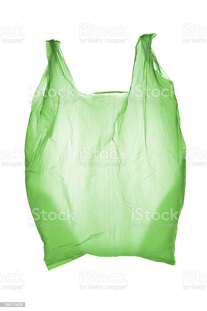 A green empty plastic unbranded bag on a white background stock photo