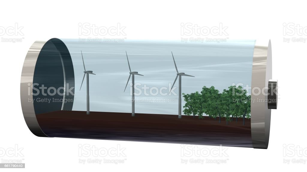 Green Energy - Battery with  trees and wind mills inside - isolated on white stock photo