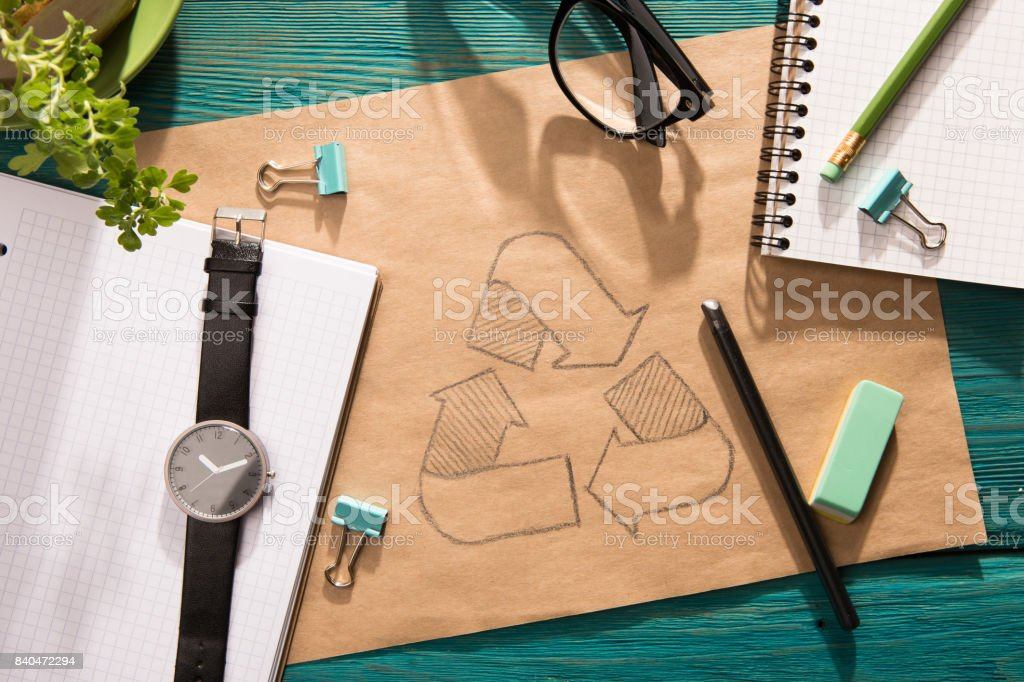 Green energy concept - notepad with sketch on the desk stock photo
