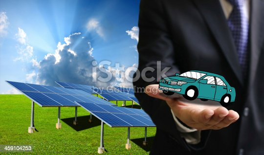 istock Green energy for transportation, Solar power car concept 459104253