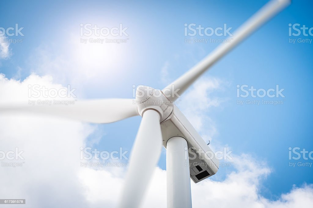 Green energy generation wind turbine close up in eolic park stock photo