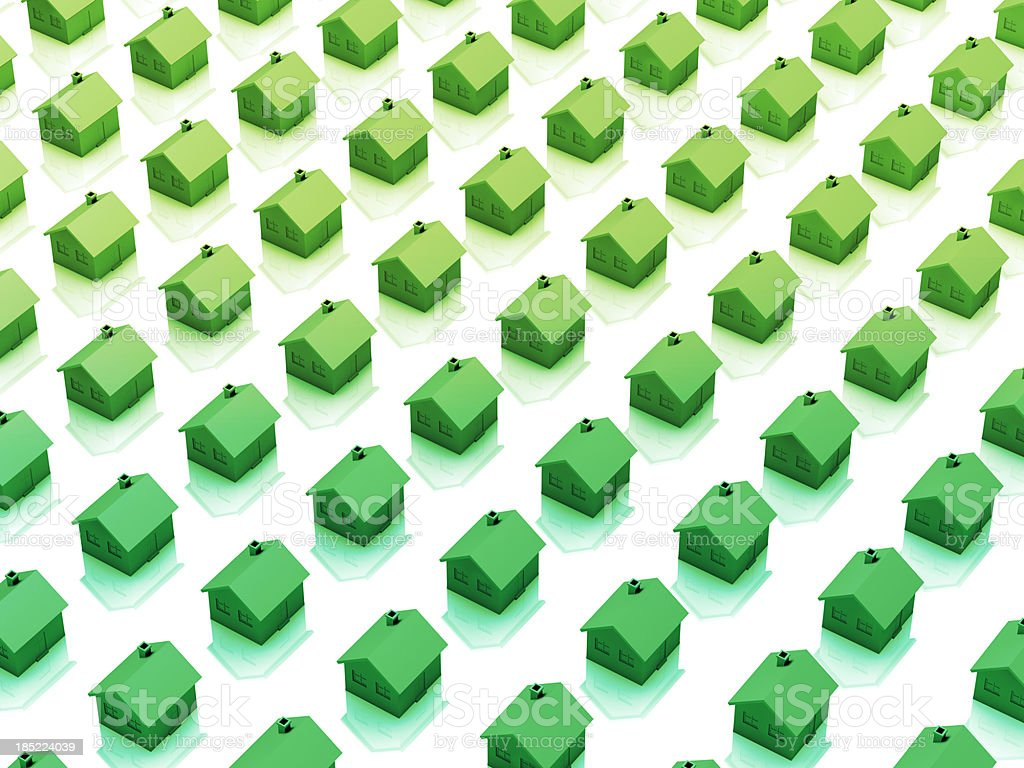 Green energy houses in a row stock photo