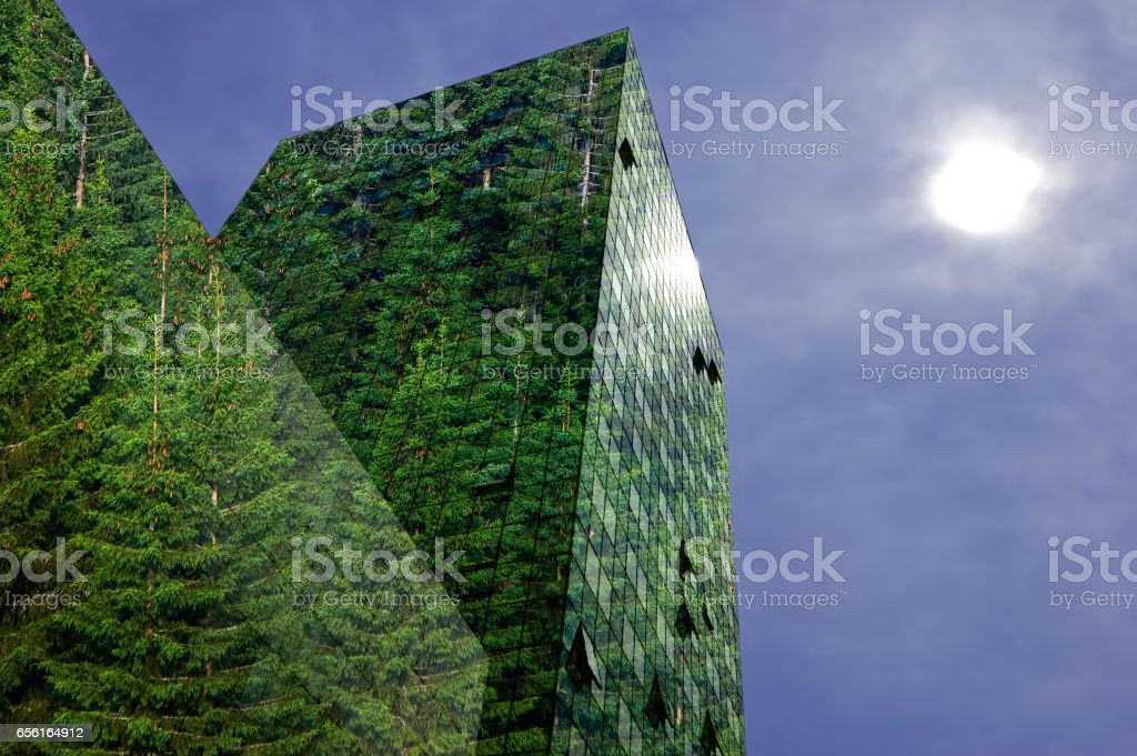 Green energy in the city stock photo
