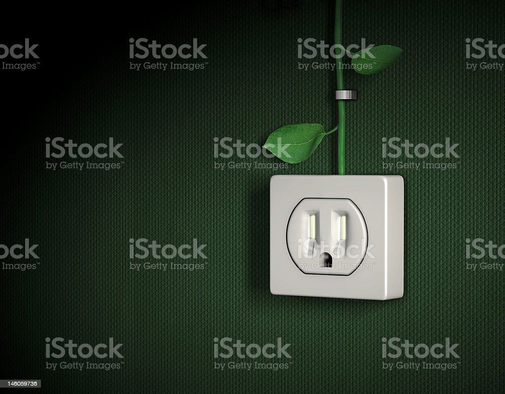 Green energy power outlet US standard stock photo